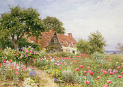 Blue House Framed Prints - A Cottage Garden Framed Print by Henry Sutton Palmer