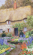Thatch Framed Prints - A Cottage Garden in Full Bloom Framed Print by John Henry Garlick