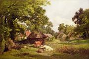 Bull Framed Prints - A Cottage Home in Surrey Framed Print by Edward Henry Holder