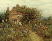 People Walking Prints - A Cottage near Brook Witley Surrey Print by Helen Allingham