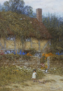 Landscape Artist Framed Prints - A Cottage near Godalming Surrey Framed Print by Helen Allingham