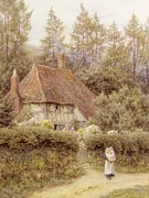 Mother And Daughter Painting Posters - A Cottage near Haslemere Poster by Helen Allingham