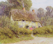 Dirt Road Framed Prints - A Country Cottage Framed Print by Helen Allingham