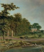 Country Road Prints - A Country House Print by J Hackaert