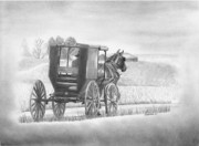 Amish Drawings Framed Prints - A Country Ride Framed Print by Christopher Brooks