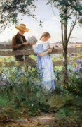 Flirting Painting Prints - A Country Romance Print by David B Walkley
