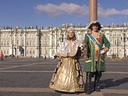 Wigs Posters - A Couple Dress As Catherine The Great Poster by Richard Nowitz