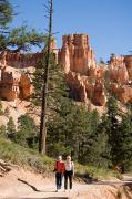 Canyons Photos - A Couple Hikes Along A Trail In Bryce by Taylor S. Kennedy