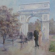 Arch Paintings - A couple in front of the Washington Arch by Tigran Ghulyan