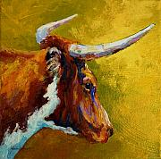 Longhorns Posters - A Couple Of Pointers - Longhorn Steer Poster by Marion Rose