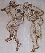 Baseball Pyrography Metal Prints - A couple of Tigers Metal Print by Dan LaTour