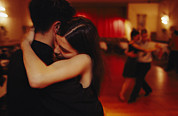 Ballroom Posters - A Couple Tango In A Loving Embrace Poster by Pablo Corral Vega