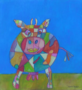 Moo Moo Paintings - A Cow of Many Colors by Marlene Robbins