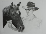 Rocky Mountains Drawings Prints - A Cowboy and His Horse Print by David Ackerson