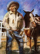 Standing Pastels Posters - A Cowboy and His Horse Poster by Donna Johnson
