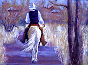 Cowboy Pastels Posters - A Cowboy Going Home Poster by Cheryl Whitehall