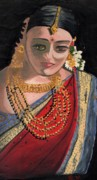 Bejeweled Framed Prints - A Coy Indian Lady Framed Print by Rani Neelakantan