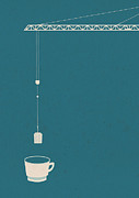 Hot Drink Posters - A Crane Dipping A Tea Bag Into A Mug Poster by Bea Crespo