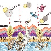 Art And Craft Digital Art - A Crane Looking At Flying Paper Cranes by Brooke Weeber