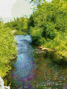 Photo Manipulation Mixed Media Posters - A Creek Runs Through It Poster by Mario Carini