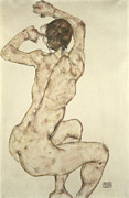 Stretching Framed Prints - A Crouching Nude Framed Print by Egon Schiele