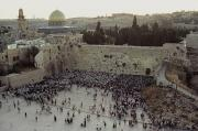 Jerusalem Prints - A Crowd Gathers Before The Wailing Wall Print by James L. Stanfield