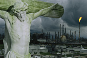 Factories Prints - A Crucifixion Statue In A Cemetery Print by Joel Sartore