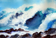 Surf Artist Paintings - A Crusher Wave by Arlene Woo
