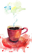 Enjoyment Painting Framed Prints - A cup of coffee Framed Print by Regina Jershova