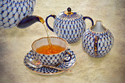 Teapot Posters - A CUP OF TEA Tea being poured into a china cup Poster by Louise Heusinkveld