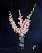 Gladiolas Painting Prints - A Cutting of Gladiolas Print by Jim Phillips