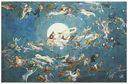 Fairies Posters - A Dance Around the Moon Poster by Charles Altamont Doyle