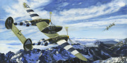 Ww2 Painting Posters - A Dance in the Clouds Poster by David Gorski