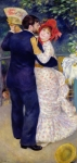 Folk  Paintings - A Dance in the Country by Pierre Auguste Renoir