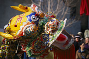 Dancers Art - A Dancing Dragon Or Lion Dancers by Nadia M.B. Hughes