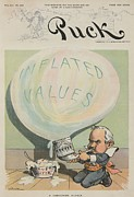Businessmen Framed Prints - A Dangerous Bubble 1902 Cartoon Framed Print by Everett