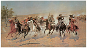 Frederic Remington Posters - A Dash for the Timber Poster by Frederic Remington