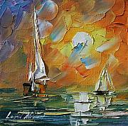 Yacht Painting Originals - A Date With The Sunset by Leonid Afremov