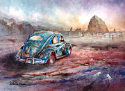 Vw Beetle Originals - A Day at the Beach Cannon Beach Oregon by Michael David Sorensen