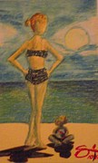People Pastels Posters - A day at the beach Poster by Edward Smith