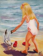 Girls Posters - A Day at the Beach Poster by Joni McPherson