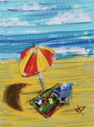 Beach Towel Digital Art Posters - A day at the beach Poster by Russell Pierce