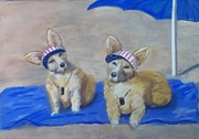 Corgies Framed Prints - A Day at the Beach Framed Print by Trudy Morris