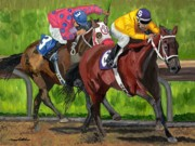 Horse Racing Prints Posters - A Day At The Races Poster by Michael Lee