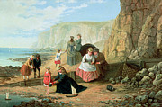 Cliff Prints - A Day at the Seaside Print by William Scott