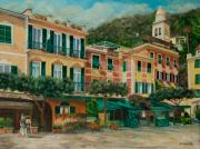 Portofino Village Art Framed Prints - A Day in Portofino Framed Print by Charlotte Blanchard