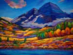 Vivid Orange Paintings - A Day in the Aspens by Johnathan Harris