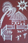 Tribal Art Paintings - A day in Warli by Samiksha Jain