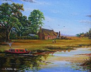 Fineart Paintings - A Day on the Canal by Andrew Read