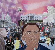 Barack Obama Mixed Media Prints - A Day To Remember Print by Martha Rucker